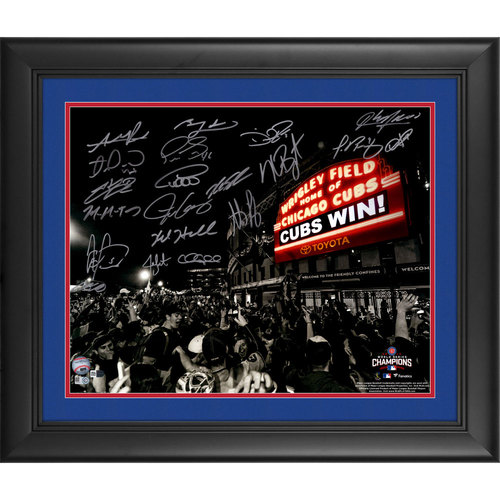 "Photo of Framed Chicago Cubs 2016 MLB World Series Champions Team Signed 16"" x 20"" Wrigley Field Cubs Win Photograph with 20 Signatures. #50 In a Limited Edition of 50"