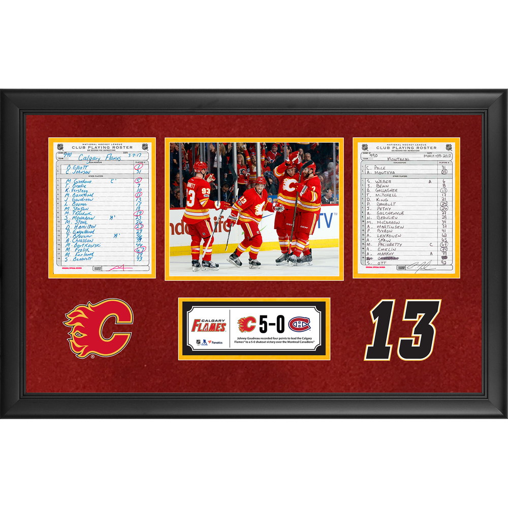 Calgary Flames Framed Original Line-Up Cards From March 9, 2017 vs. Montreal Canadiens - Johnny Gaudreau's Third Career Four-Point Game