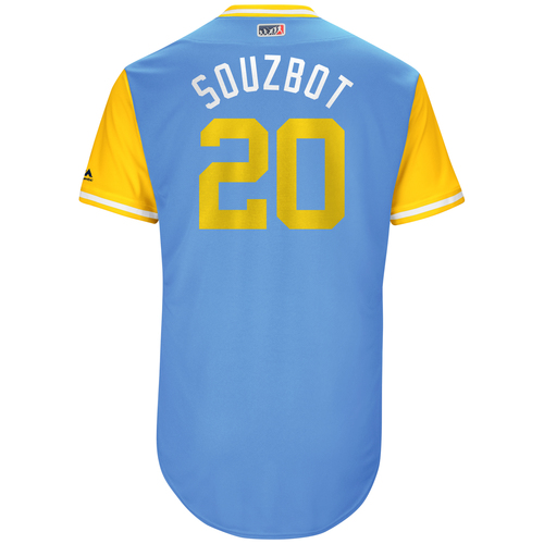 "Photo of Steven ""Souzbot"" Souza Tampa Bay Rays Game-Used Players Weekend Jersey"