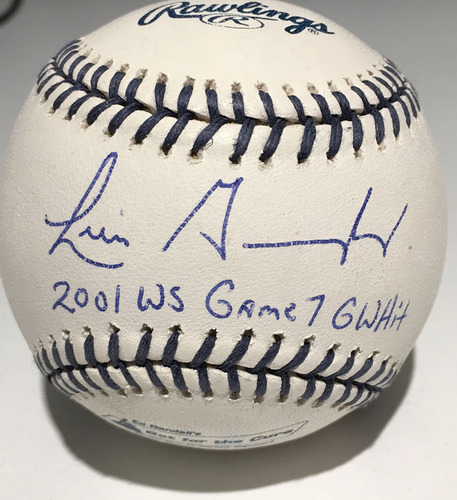 """Photo of Ed Randall's Fans For the Cure Auction: Luis Gonzalez Autographed Inscribed """"2001 WS Game 7 GWHit"""" Baseball"""