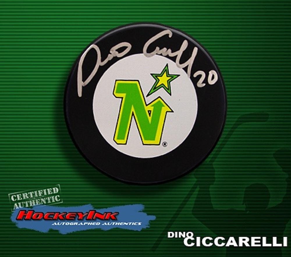 DINO CICCARELLI Signed Minnesota Northstars Puck