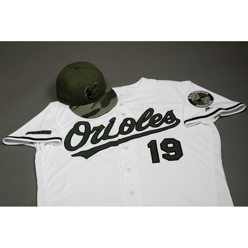 Photo of Mark Trumbo Autographed, Game-Worn Memorial Day Jersey & Cap