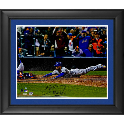"""Photo of Eric Hosmer Kansas City Royals 2015 MLB World Series Champions Framed Autographed 16"""" x 20"""" World Series Game 5 Tying Run Photograph with Multiple Inscriptions. #1 In a Limited Edition of 35."""