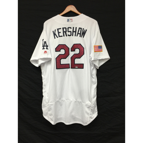 Photo of Clayton Kershaw Team-Issued 4th of July Jersey