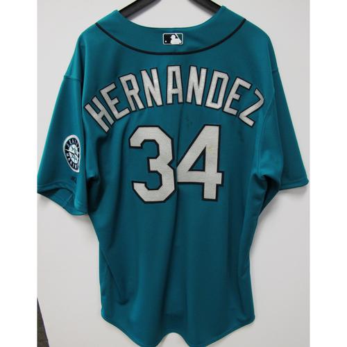 Photo of Felix Hernandez Green Game-Used Jersey - 6/27/2014