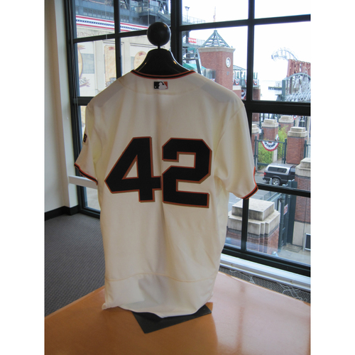 Photo of San Francisco Giants - Game Used - Jackie Robinson Day #42 Jersey - Denard Span