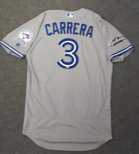 Photo of Authenticated Team Issued 2016 Postseason Jersey - #3 Ezequiel Carrera