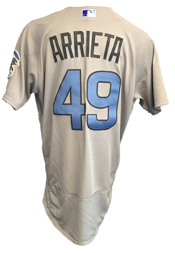 Photo of Jake Arrieta Game-Used Father's Day Jersey -- Cubs vs Pirates -- (4 H, 2 ER, 7 K), Hit 1st HR of Season -- 6/17/17