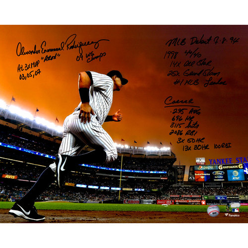 "Photo of Alex Rodriguez New York Yankees Autographed 16"" x 20"" Final Game Running on to the Field Photograph with Career Stats Inscriptions. #1 In a Limited Edition of 13."