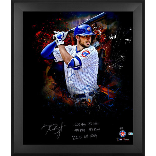 "Photo of Kris Bryant Chicago Cubs Framed Autographed 20"" x 24"" In Focus Photograph with Multiple Inscriptions. #1 of a Limited Edition of 17"