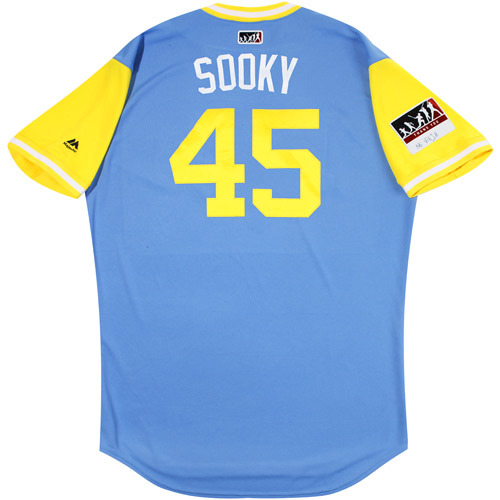 "Photo of Jesus ""Sooky"" Sucre Tampa Bay Rays Game-Used Players Weekend Jersey"