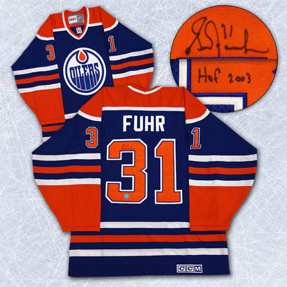 Grant Fuhr Edmonton Oilers Autographed Retro CCM Hockey Jersey w/ HOF Note