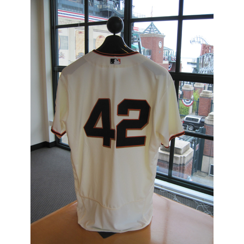 Photo of San Francisco Giants - Game Used - Jackie Robinson Day #42 Jersey - Jarrett Parker