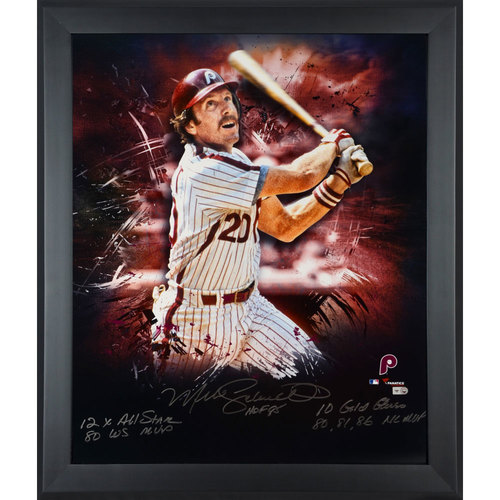 "Photo of Mike Schmidt Philadelphia Phillies Framed Autographed 20"" x 24"" In Focus Photograph with Multiple Inscriptions. #1 of Limited Edition of 20"
