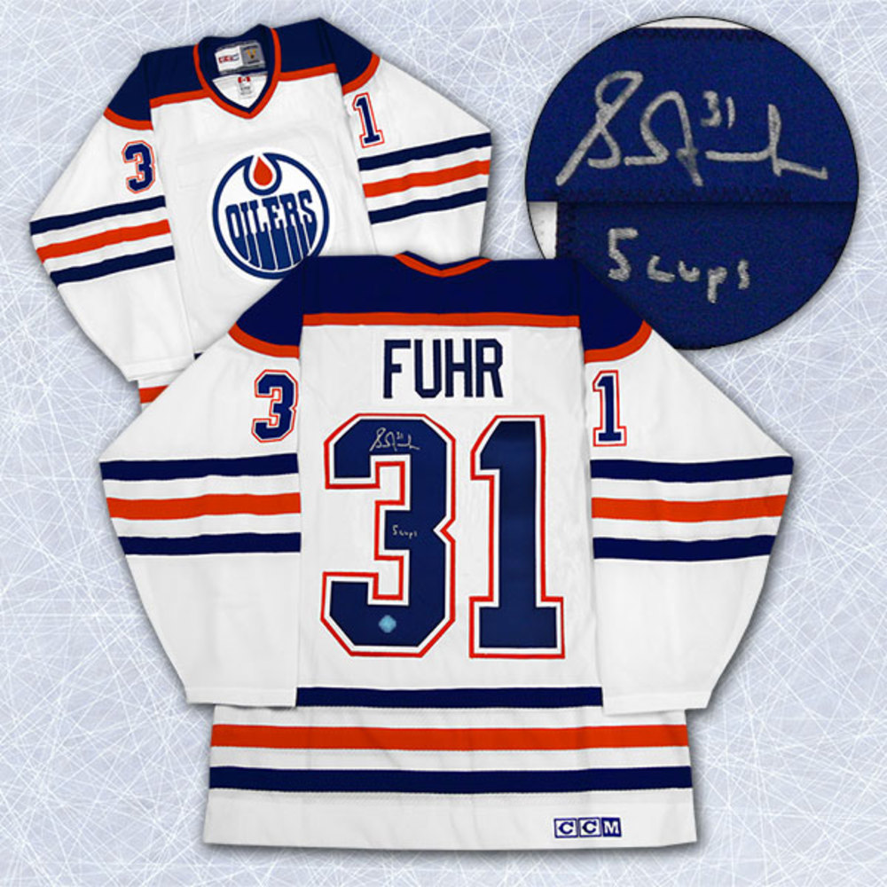 Grant Fuhr Edmonton Oilers Autographed Retro CCM Hockey Jersey w/ 5 Cups Note