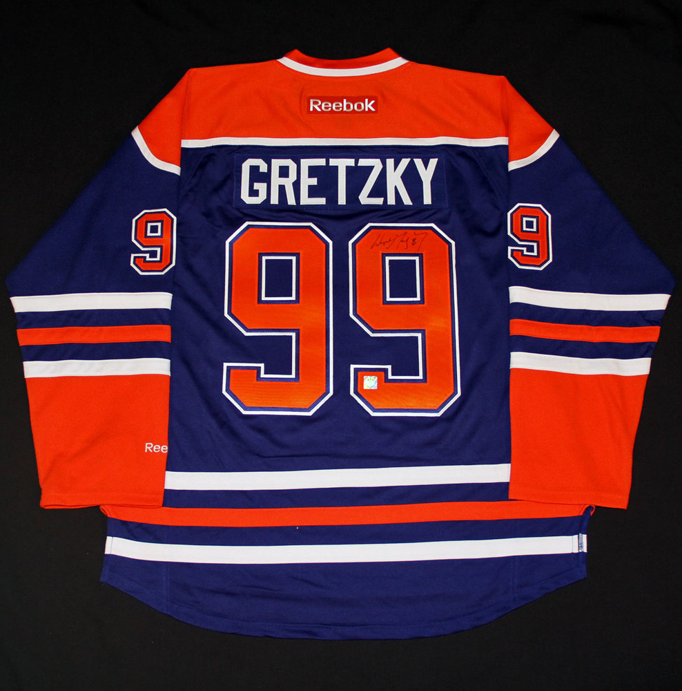 Wayne Gretzky #99 - Autographed Edmonton Oilers Royal Blue Reebok Replica Hockey Jersey