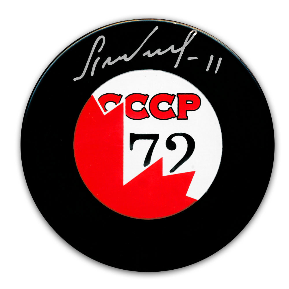 Yuri Lebedev CCCP Canada 1972 Summit Series Dueling Autographed Puck