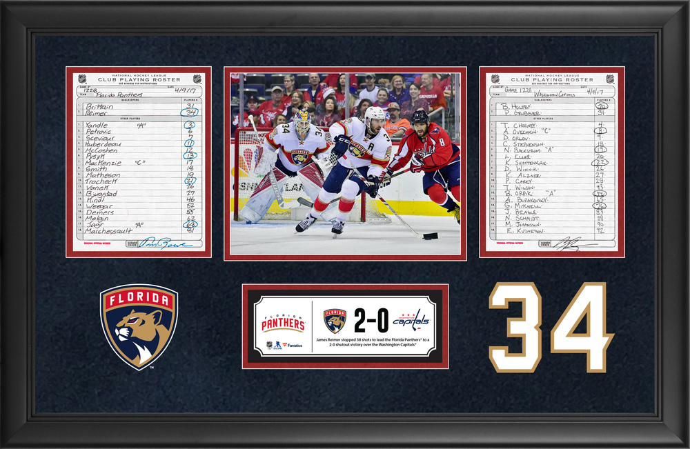 Florida Panthers Framed Original Line-Up Cards From April 9, 2017 vs. Washington Capitals - James Reimer's 38-Save Shutout