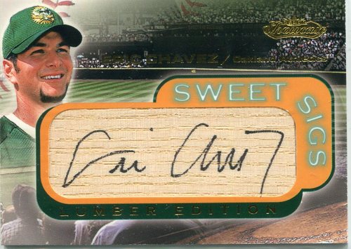 Photo of 2001 Fleer Showcase Sweet Sigs Lumber #6 Eric Chavez