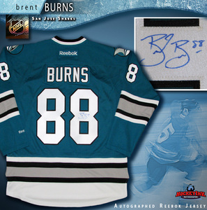 BRENT BURNS Signed San Jose Sharks 25th Anniversary Teal Reebok Jersey