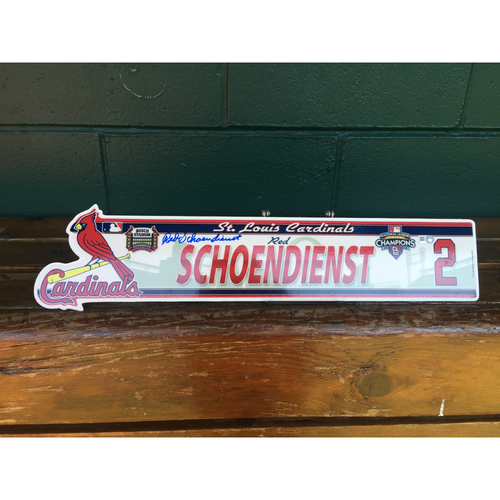 Photo of Cardinals Authentics: #2 Red Schoendienst autographed 2010 locker nameplate