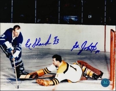 EDDIE SHACK Toronto Maple Leafs vs ED JOHNSTON Boston Bruins DUAL-SIGNED 8x10 Photo