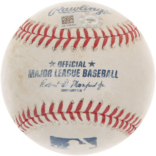 Photo of Game-Used Baseball from Kris Bryant's 1st Career Major League Hit Game