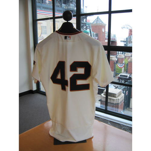 Photo of San Francisco Giants - Game Used - Jackie Robinson Day #42 Jersey - Conor Gillaspie
