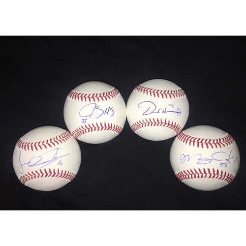 Photo of The Rotation: Baseballs Autographed by Jose Quintana, James Shields, Derek Holland and Miguel Gonzalez