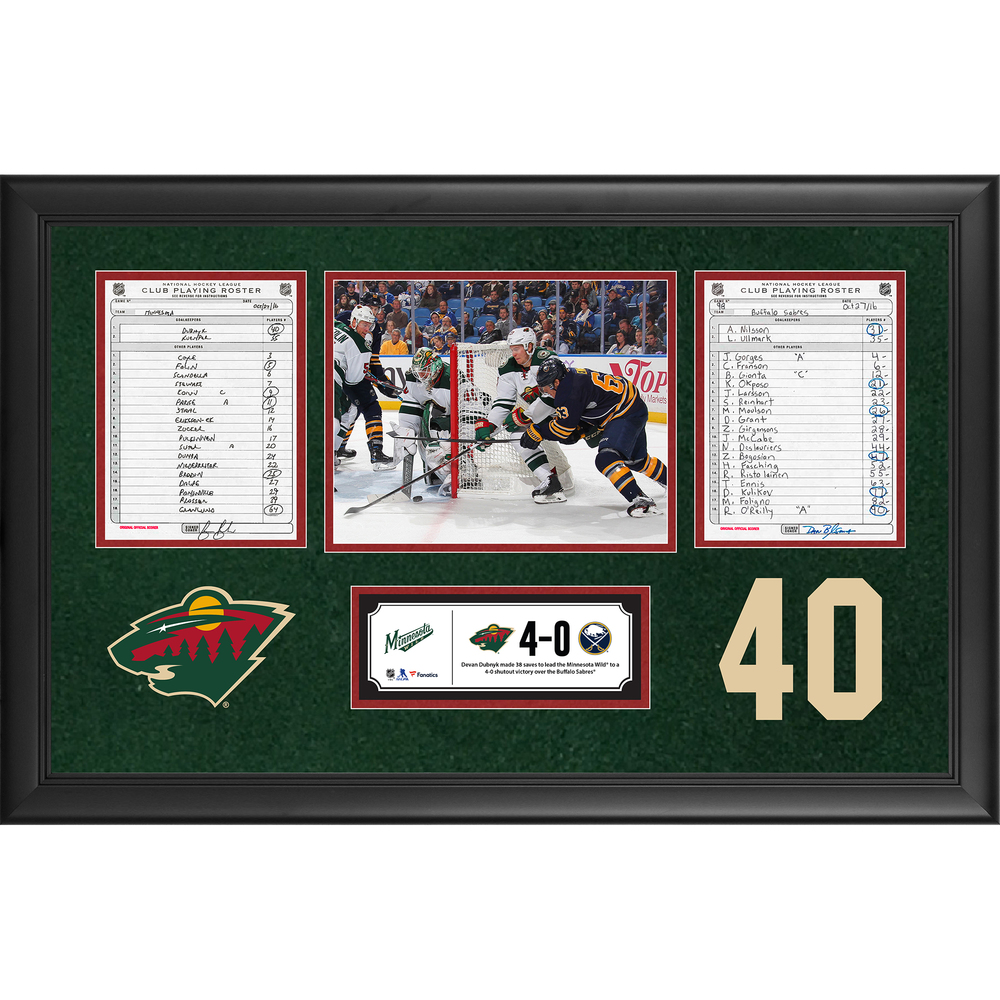 Minnesota Wild Framed Original Line-Up Cards From October 27, 2016 vs. Buffalo Sabres - Devan Dubnyk's 38-Save Shutout