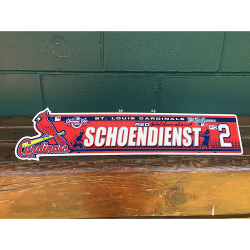 Cardinals Authentics: #2  Red Schoendienst autographed 2009 locker nameplate