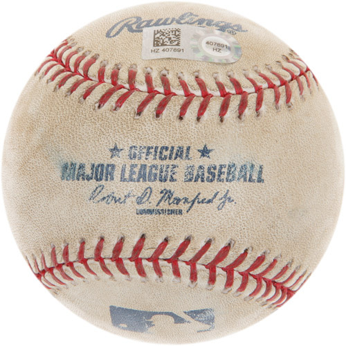 Photo of Game-Used Baseball from Carlos Correa's Major League Debut and 1st Career Hit Game