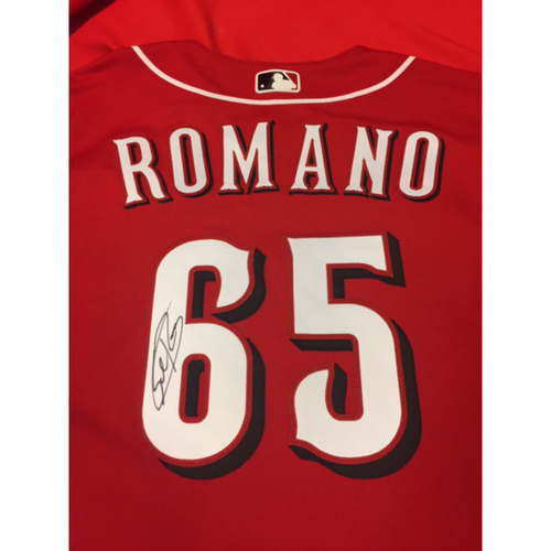 Photo of Autographed Jersey -- Sal Romano -- 2016 Team-Issued Jersey Signed on Back of Jersey by Sal Romano