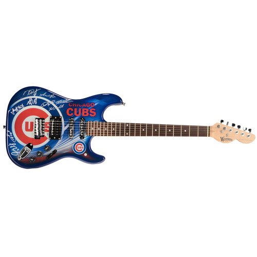Photo of Chicago Cubs 2016 MLB World Series Champions Autographed Guitar with 9 Signatures. #1 In a Limited Edition of 10.