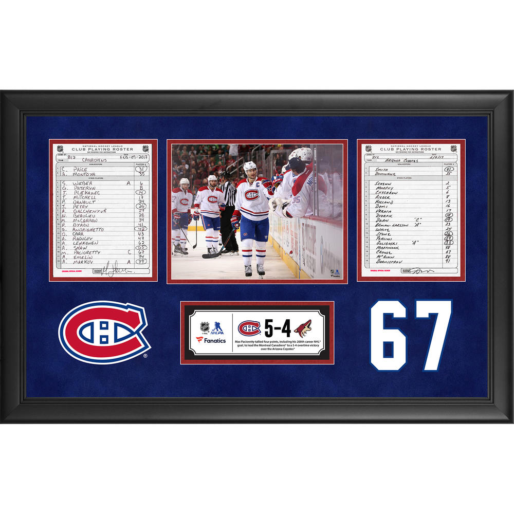 Montreal Canadiens Framed Original Line-Up Cards From February 9, 2017 vs. Arizona Coyotes - Max Pacioretty's 200th Career Goal