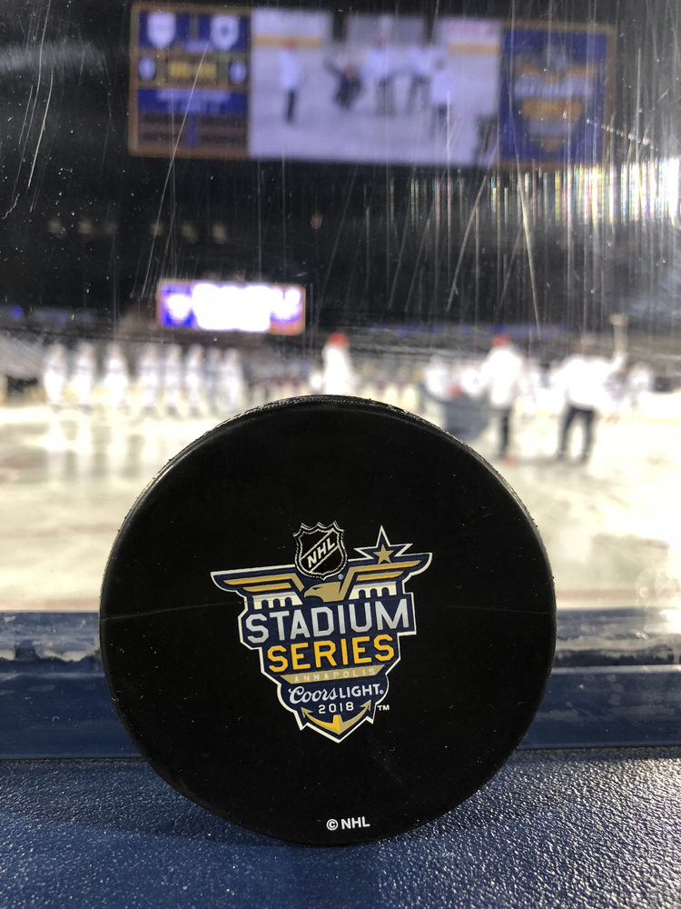 2018 NHL Stadium Series Washington Capitals vs. Toronto Maple Leafs Warm Up-Used Puck