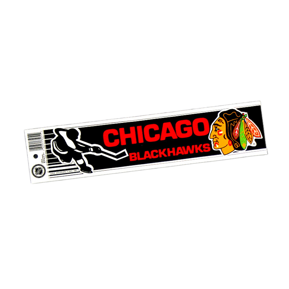 Vintage NHL CHICAGO BLACKHAWKS Bumper Sticker - Unused - NOS - NM - STYLE B