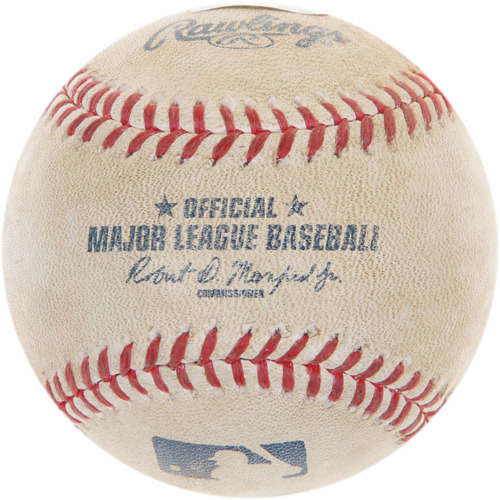 Photo of Game-Used Baseball from Francisco Lindor's Major League Debut and 1st Career Hit Game