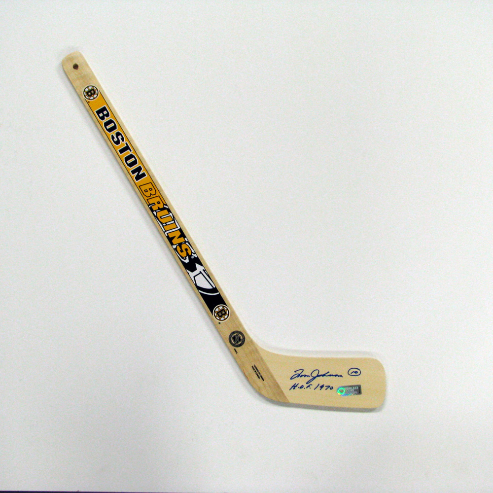 TOM JOHNSON Signed Mini Stick with HOF Inscription - Boston Bruins