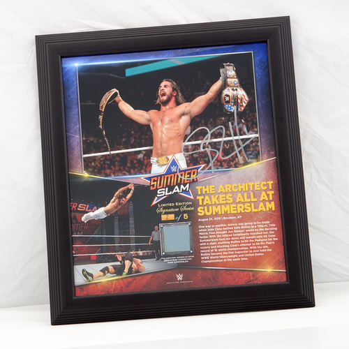 Photo of Seth Rollins SIGNED SummerSlam Commemorative Ring Canvas Plaque (#2 of 5)