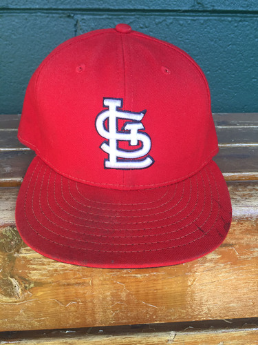 Photo of Cardinals Authentics: Matt Carpenter game worn Home Red hat from September 30th