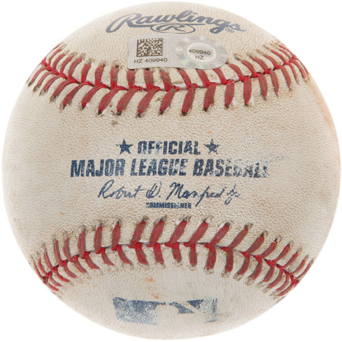 Game-Used Baseball from Byron Buxton' s 1st Career Major League Hit Game