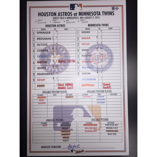 Photo of Astros at Twins, August 9, 2016, Game-Used Lineup Card