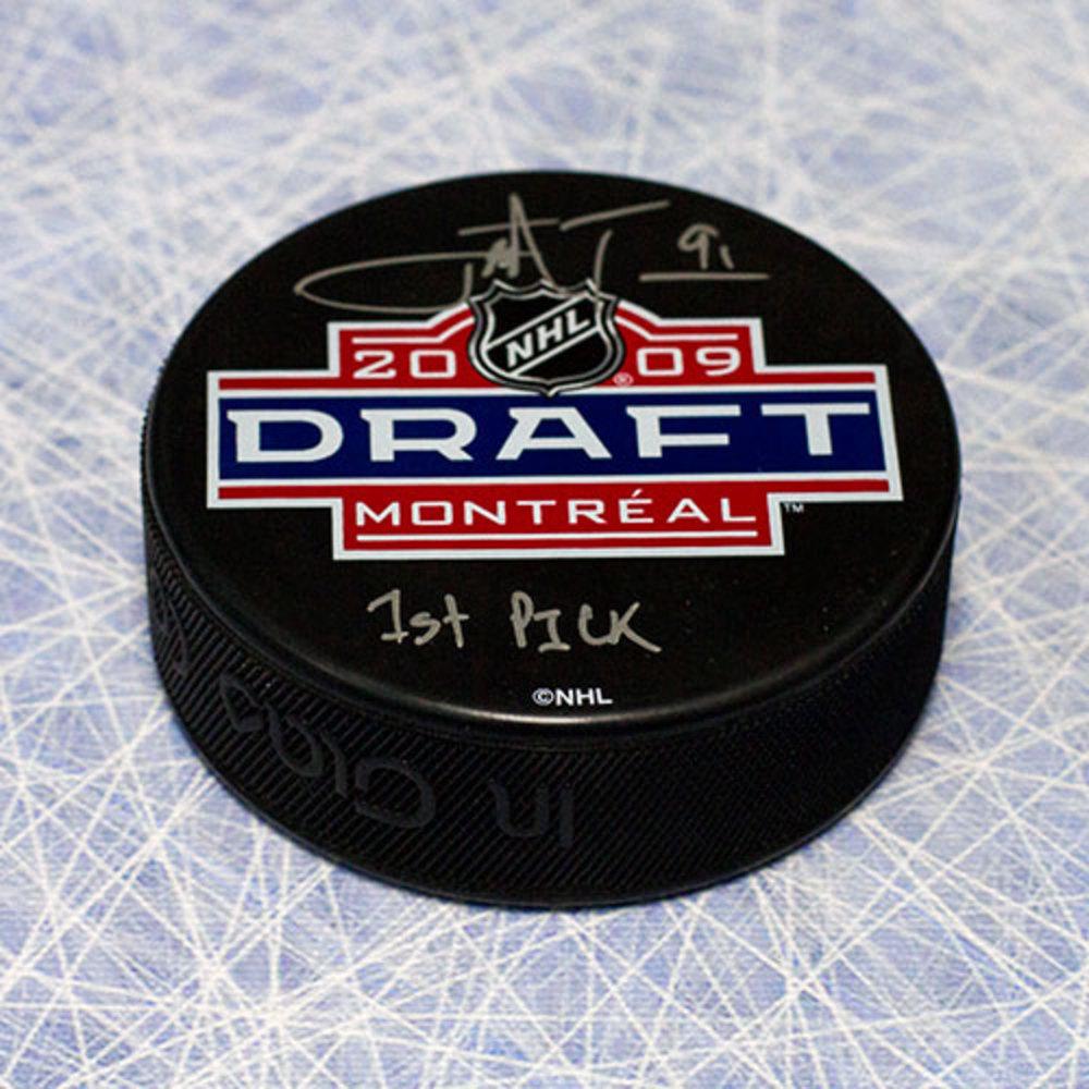 John Tavares 2009 NHL Draft Day Puck Autographed with 1st Pick Inscription *New York Islanders*