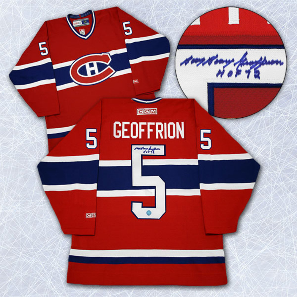 Bernie Boom Boom Geoffrion Montreal Canadiens Autographed Retro CCM Jersey