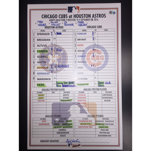 Photo of Astros vs Cubs, September 11, 2016, Game-Used Lineup Card