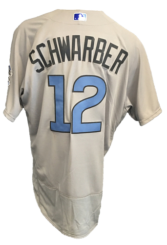 Photo of Kyle Schwarber Game-Used Father's Day Jersey -- Cubs vs Pirates -- 6/17/17