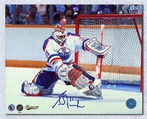 Grant Fuhr Edmonton Oilers Autographed Kick Save 8x10 Photo