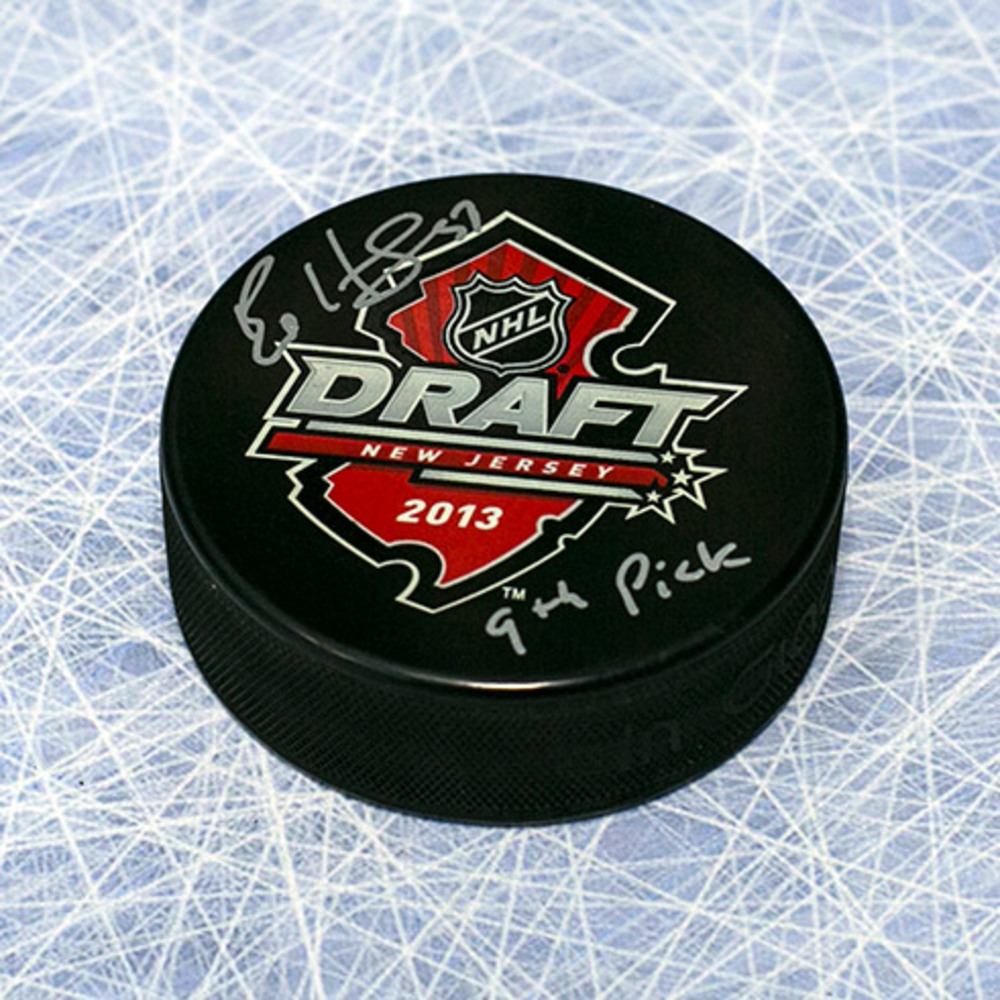 Bo Horvat 2013 NHL Draft Day Puck Autographed w/ 9th Pick Inscription *Vancouver Canucks*
