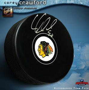 COREY CRAWFORD Signed Chicago Blackhawks Puck